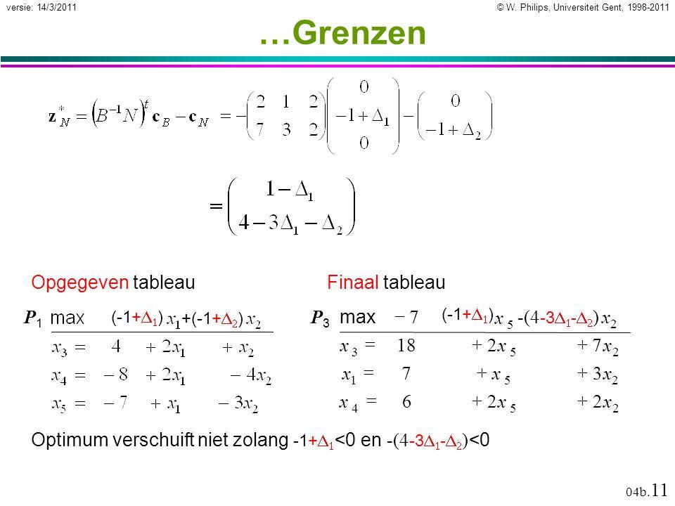 © W. Philips, Universiteit Gent, 1998-2011versie: 14/3/2011 04b. 11 …Grenzen Optimum verschuift niet zolang -1+   <0 en -(4 -3   -   ) <0 Opgege