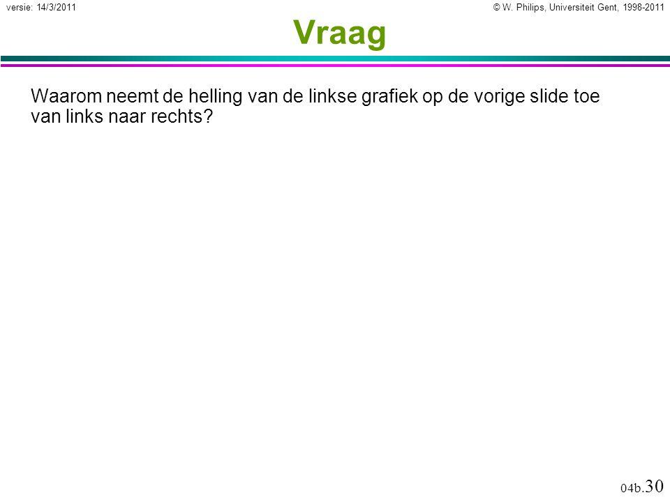 © W. Philips, Universiteit Gent, 1998-2011versie: 14/3/2011 04b. 30 Vraag Waarom neemt de helling van de linkse grafiek op de vorige slide toe van lin