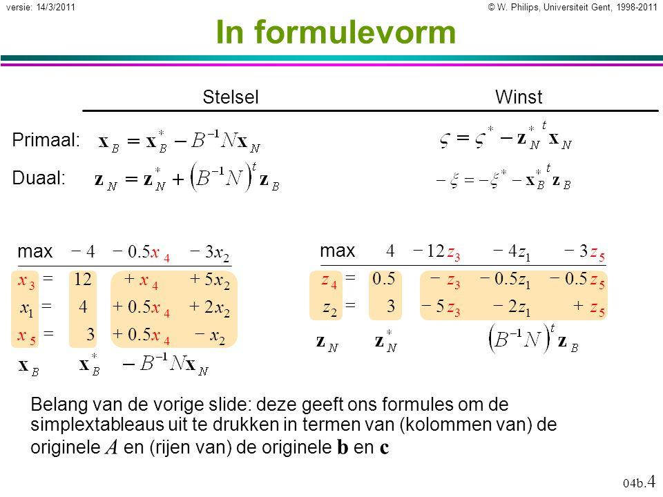 © W. Philips, Universiteit Gent, 1998-2011versie: 14/3/2011 04b. 4 In formulevorm Belang van de vorige slide: deze geeft ons formules om de simplextab