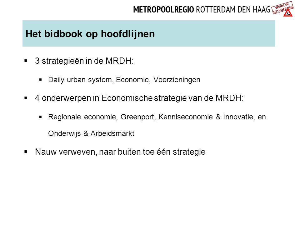 Het bidbook op hoofdlijnen  3 strategieën in de MRDH:  Daily urban system, Economie, Voorzieningen  4 onderwerpen in Economische strategie van de M