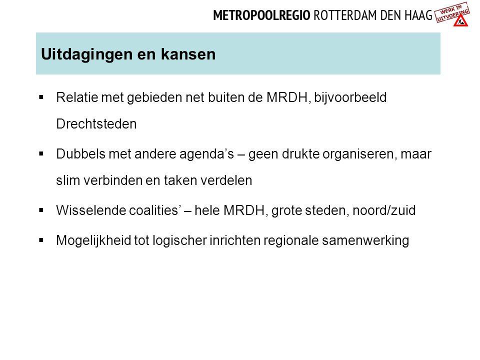 Uitdagingen en kansen  Relatie met gebieden net buiten de MRDH, bijvoorbeeld Drechtsteden  Dubbels met andere agenda's – geen drukte organiseren, ma