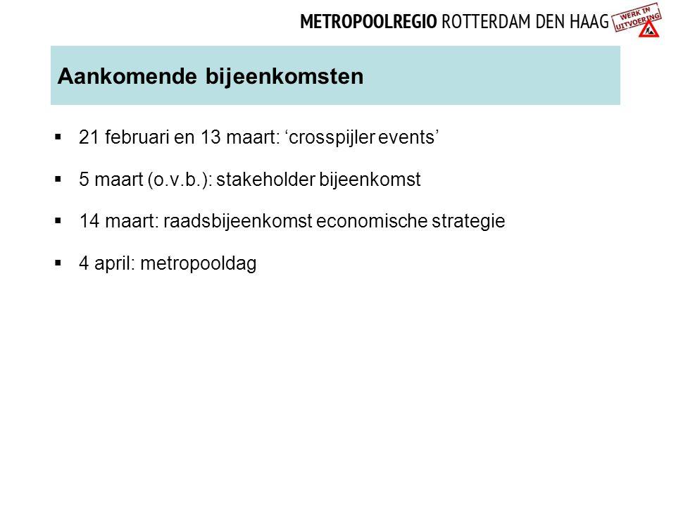 Aankomende bijeenkomsten  21 februari en 13 maart: 'crosspijler events'  5 maart (o.v.b.): stakeholder bijeenkomst  14 maart: raadsbijeenkomst econ