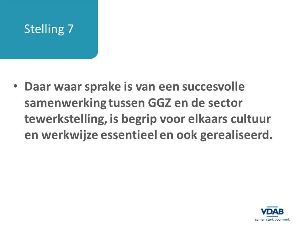 Stelling 7 Daar waar sprake is van een succesvolle samenwerking tussen GGZ en de sector tewerkstelling, is begrip voor elkaars cultuur en werkwijze es