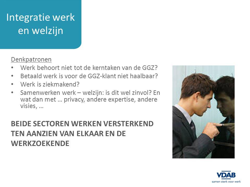 Integratie werk en welzijn Denkpatronen Werk behoort niet tot de kerntaken van de GGZ? Betaald werk is voor de GGZ-klant niet haalbaar? Werk is ziekma