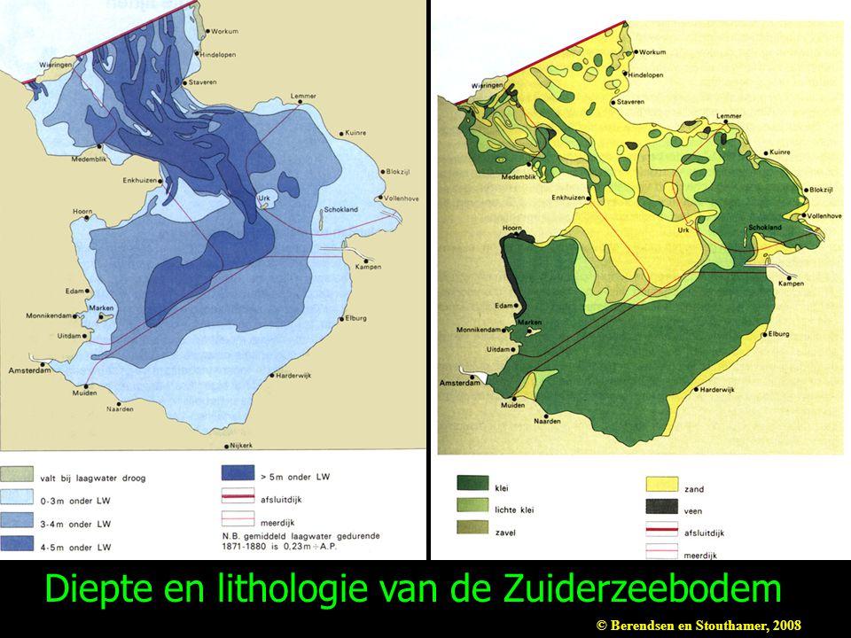 Diepte en lithologie van de Zuiderzeebodem © Berendsen en Stouthamer, 2008