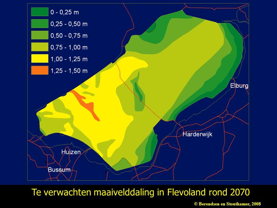 Te verwachten maaivelddaling in Flevoland rond 2070 © Berendsen en Stouthamer, 2008