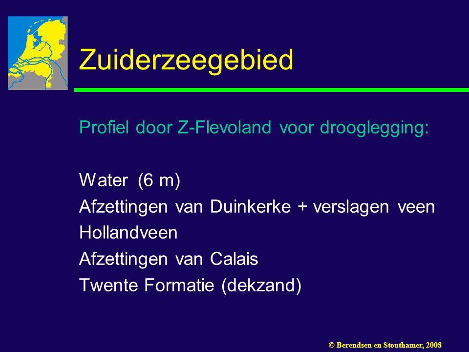Zuiderzeegebied Profiel door Z-Flevoland voor drooglegging: Water (6 m) Afzettingen van Duinkerke + verslagen veen Hollandveen Afzettingen van Calais