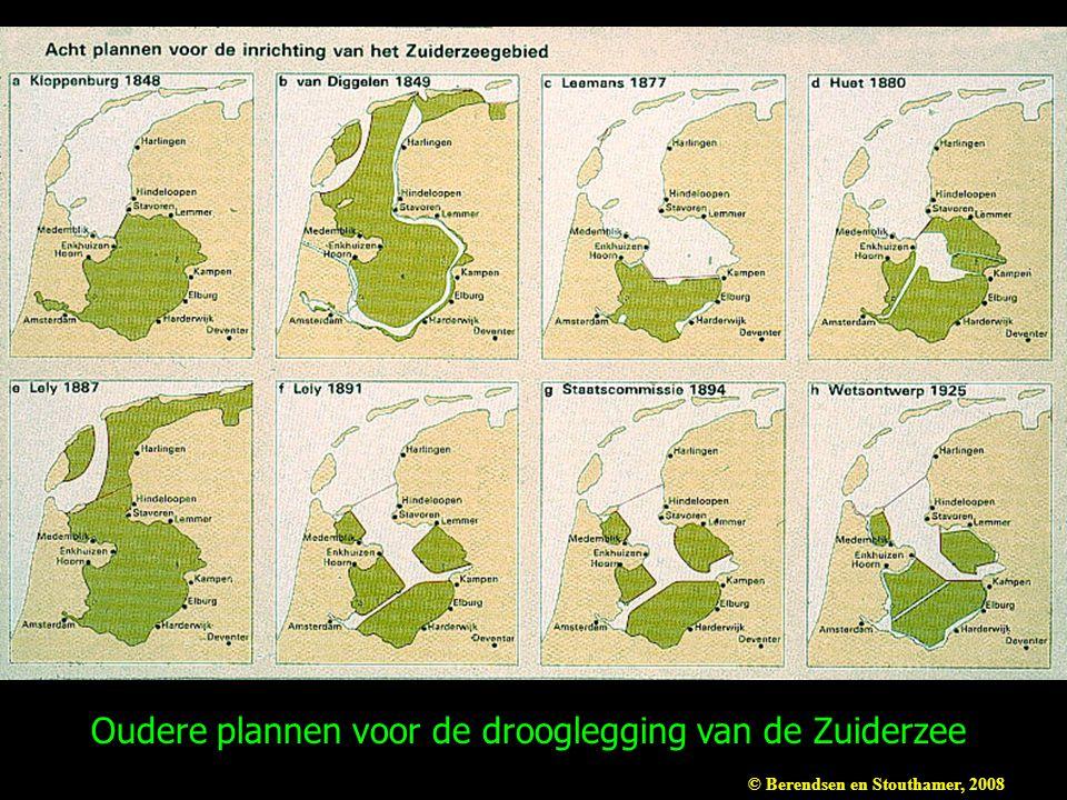 Oudere plannen voor de drooglegging van de Zuiderzee © Berendsen en Stouthamer, 2008
