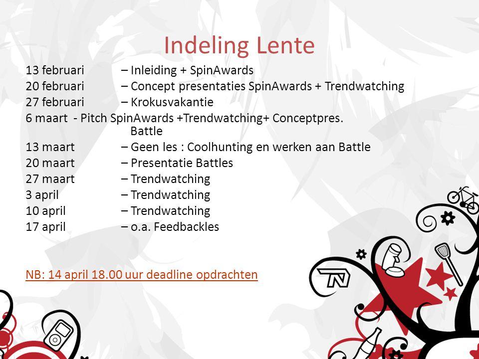 Indeling Lente 13 februari – Inleiding + SpinAwards 20 februari – Concept presentaties SpinAwards + Trendwatching 27 februari – Krokusvakantie 6 maart - Pitch SpinAwards +Trendwatching+ Conceptpres.