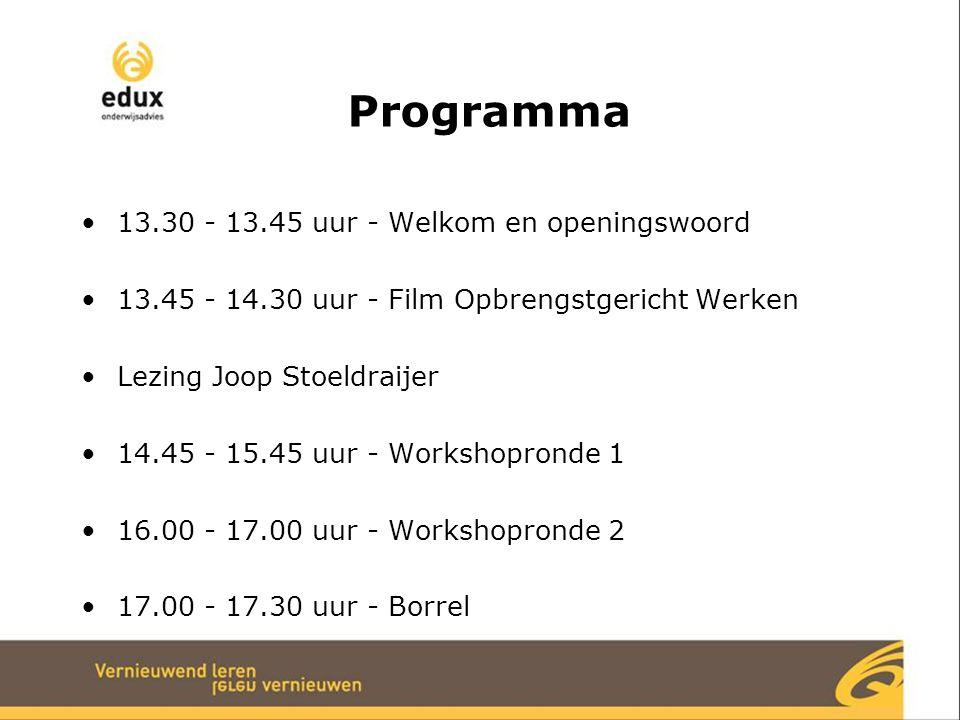 Programma 13.30 - 13.45 uur - Welkom en openingswoord 13.45 - 14.30 uur - Film Opbrengstgericht Werken Lezing Joop Stoeldraijer 14.45 - 15.45 uur - Wo