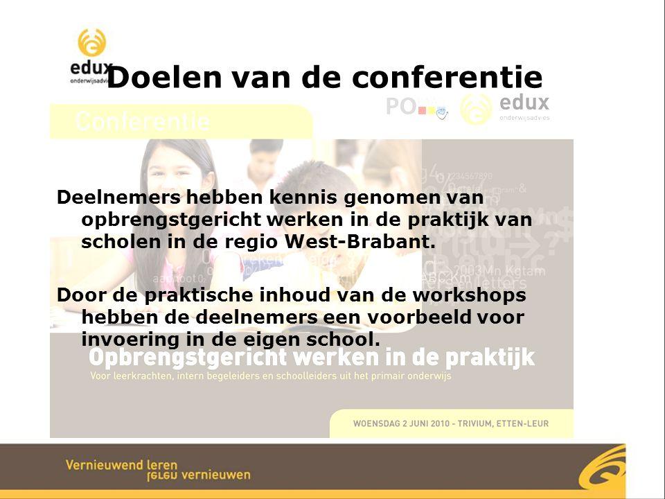 Doelen van de conferentie Deelnemers hebben kennis genomen van opbrengstgericht werken in de praktijk van scholen in de regio West-Brabant. Door de pr