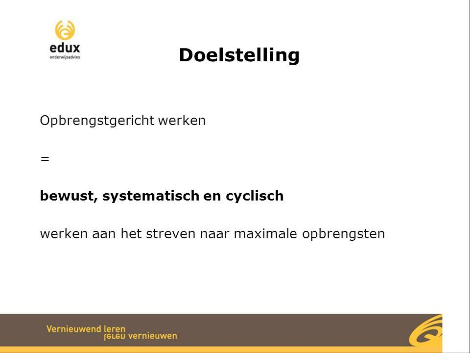 Doelstelling Opbrengstgericht werken = bewust, systematisch en cyclisch werken aan het streven naar maximale opbrengsten