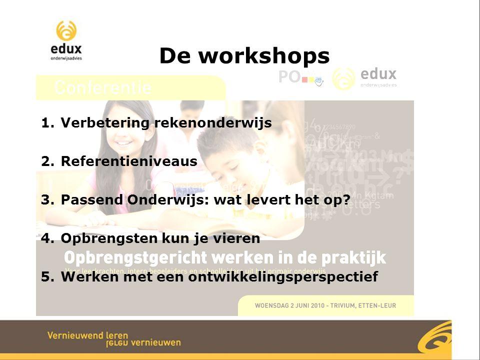 De workshops 1.Verbetering rekenonderwijs 2.Referentieniveaus 3.Passend Onderwijs: wat levert het op? 4.Opbrengsten kun je vieren 5.Werken met een ont