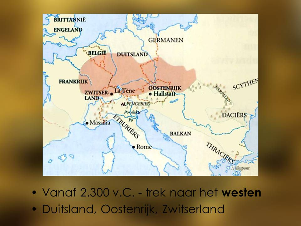 Vanaf 2.300 v.C. - trek naar het westen Duitsland, Oostenrijk, Zwitserland