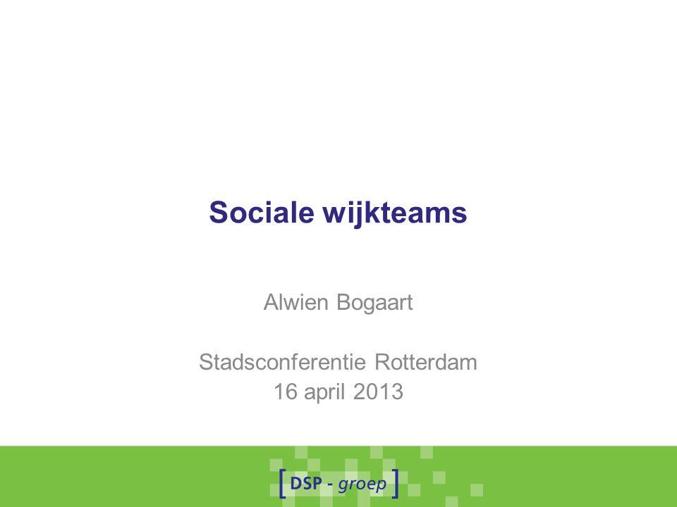 Sociale wijkteams Alwien Bogaart Stadsconferentie Rotterdam 16 april 2013