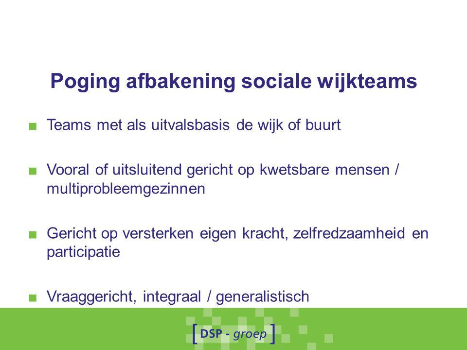 Poging afbakening sociale wijkteams ■ Teams met als uitvalsbasis de wijk of buurt ■ Vooral of uitsluitend gericht op kwetsbare mensen / multiprobleemg