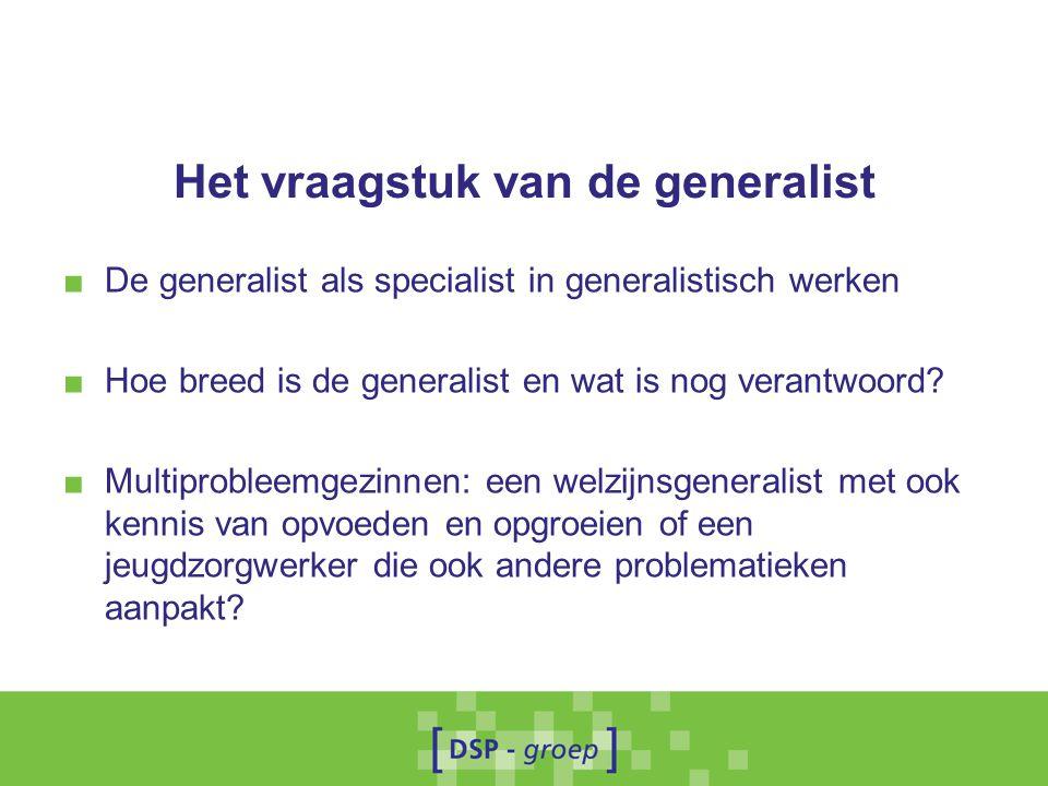 Het vraagstuk van de generalist ■ De generalist als specialist in generalistisch werken ■ Hoe breed is de generalist en wat is nog verantwoord? ■ Mult