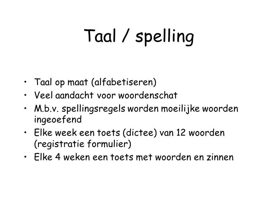 Taal / spelling Taal op maat (alfabetiseren) Veel aandacht voor woordenschat M.b.v. spellingsregels worden moeilijke woorden ingeoefend Elke week een
