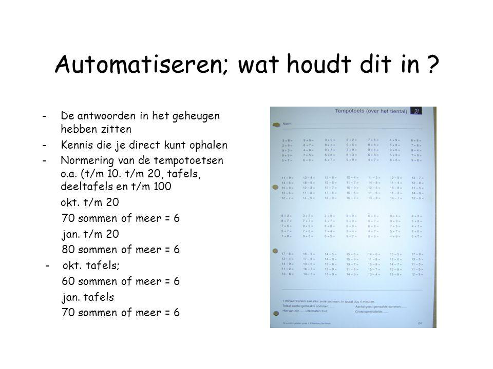 Automatiseren; wat houdt dit in ? -De antwoorden in het geheugen hebben zitten -Kennis die je direct kunt ophalen -Normering van de tempotoetsen o.a.