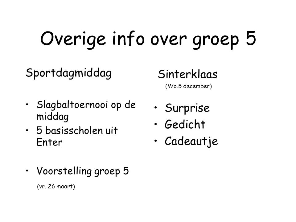 Overige info over groep 5 Sportdagmiddag Slagbaltoernooi op de middag 5 basisscholen uit Enter Voorstelling groep 5 (vr. 26 maart) Sinterklaas (Wo.5 d