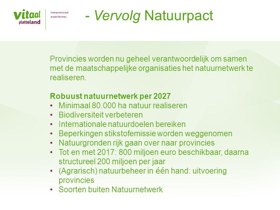 Provincies verbinden Europees en nationaal beleid met doelen op provinciaal en gebiedsniveau Provincies: gebiedsregisseurs inrichting landelijk gebied Faciliteren gebiedsprocessen Stimuleren samenwerking (overheden en gebiedspartners) Uitvoering - bevoegd gezag voor: –Vergunningverlening –Ontheffingen –Handhaving groene wetten –Natura2000-gebieden Provinciaal natuurbeleid