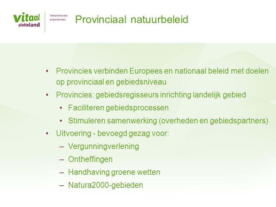 Structuurvisie en omgevingsplan: ruimtelijke ontwikkeling Meerjarenprogramma voor landelijk gebied Beheerplannen Natura2000 Natuurbeheerplannen Natuurdoelen en begrenzing natuurterreinen Subsidies beheer, inrichting, functieverandering en kwaliteitsverbetering Instrumentarium