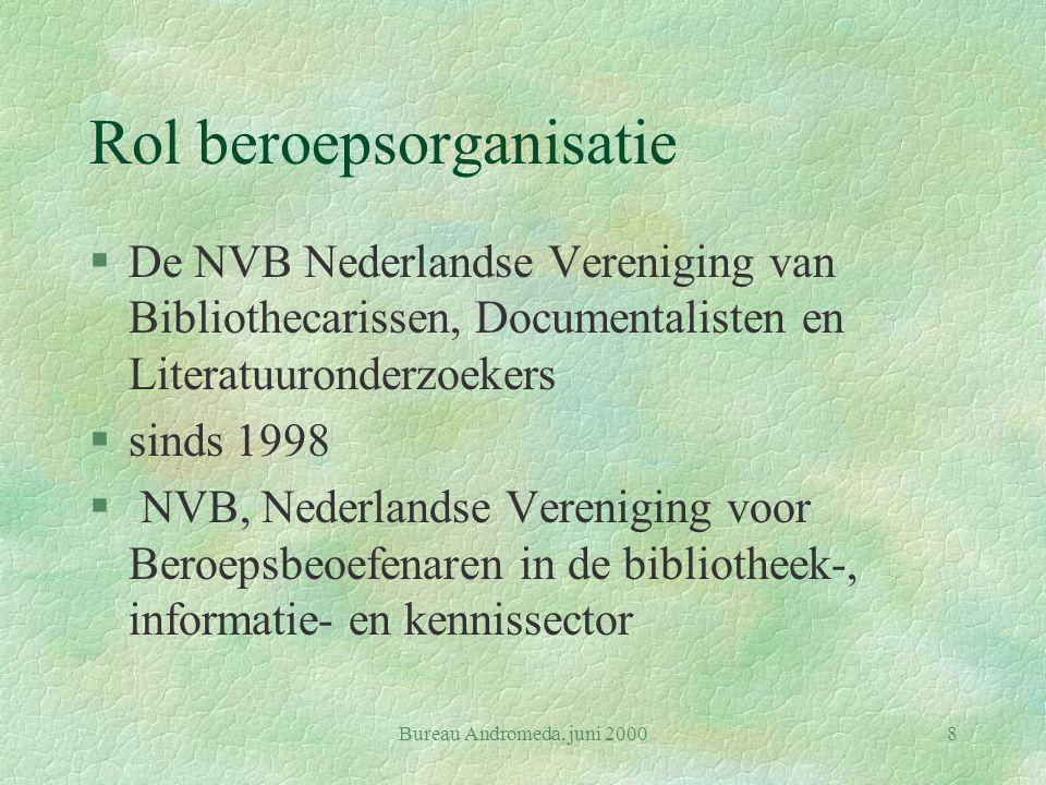 Bureau Andromeda, juni 20008 Rol beroepsorganisatie §De NVB Nederlandse Vereniging van Bibliothecarissen, Documentalisten en Literatuuronderzoekers §sinds 1998 § NVB, Nederlandse Vereniging voor Beroepsbeoefenaren in de bibliotheek-, informatie- en kennissector