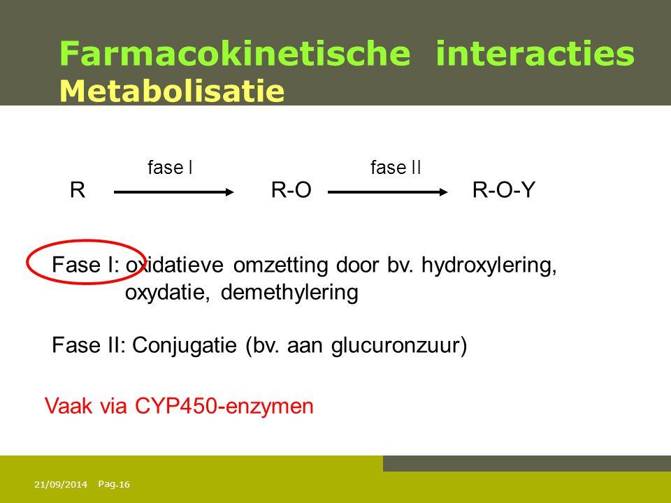 Pag. Farmacokinetische interacties Metabolisatie RR-OR-O-Y fase I fase II Fase I: oxidatieve omzetting door bv. hydroxylering, oxydatie, demethylering