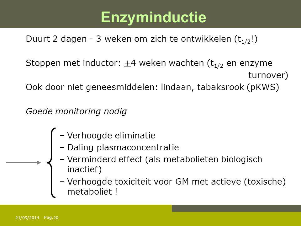 Pag. 21/09/201420 Duurt 2 dagen - 3 weken om zich te ontwikkelen (t 1/2 !) Stoppen met inductor: +4 weken wachten (t 1/2 en enzyme turnover) Ook door