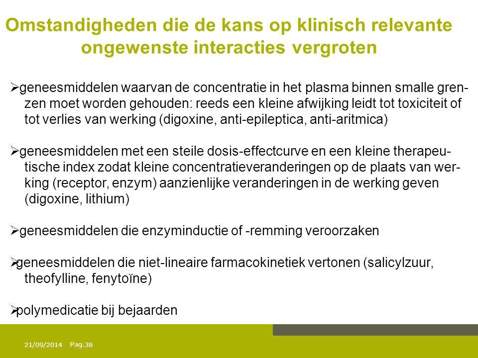 Pag. 21/09/201438 Omstandigheden die de kans op klinisch relevante ongewenste interacties vergroten  geneesmiddelen waarvan de concentratie in het pl