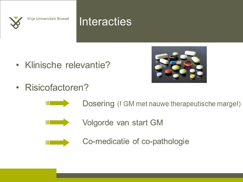 Interacties Klinische relevantie.Risicofactoren. Dosering (.