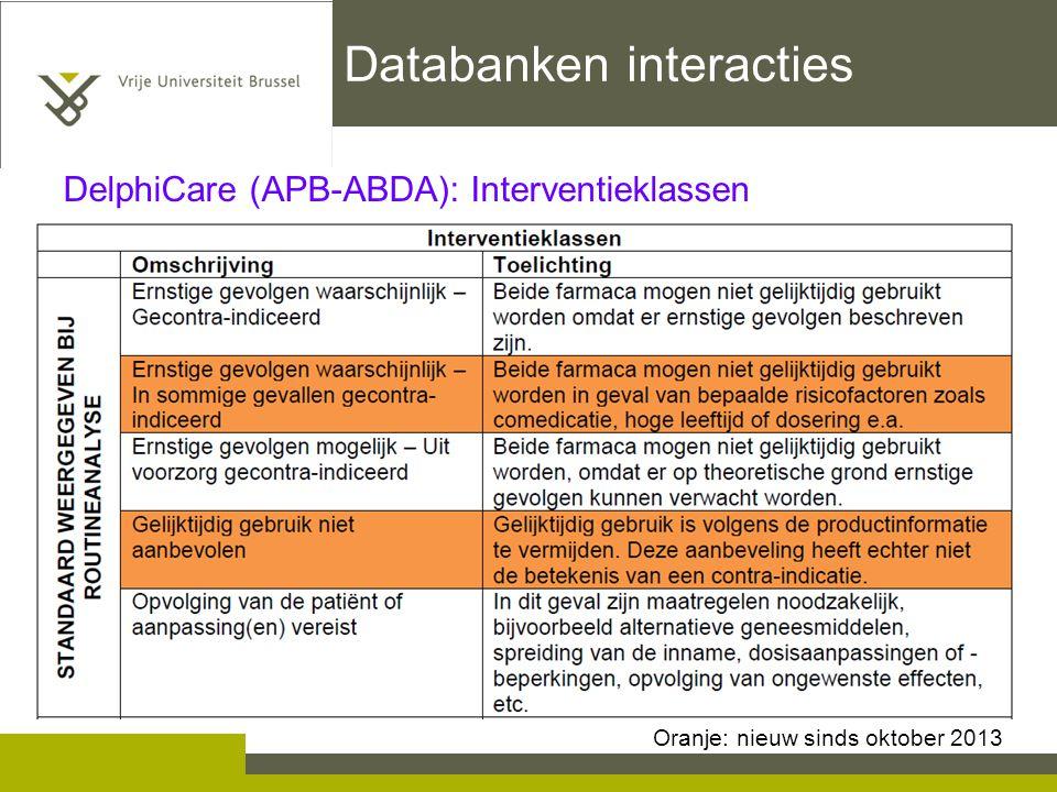 Databanken interacties DelphiCare (APB-ABDA): Interventieklassen Oranje: nieuw sinds oktober 2013