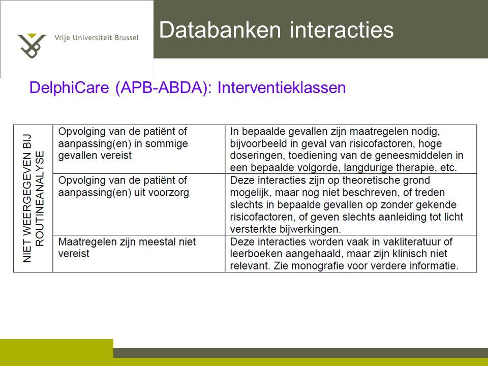 Databanken interacties DelphiCare (APB-ABDA): Interventieklassen