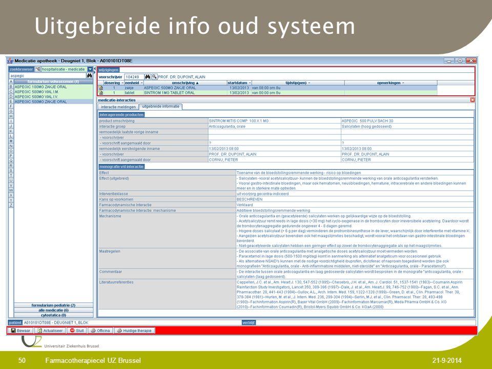 Uitgebreide info oud systeem Farmacotherapiecel UZ Brussel 50 21-9-2014