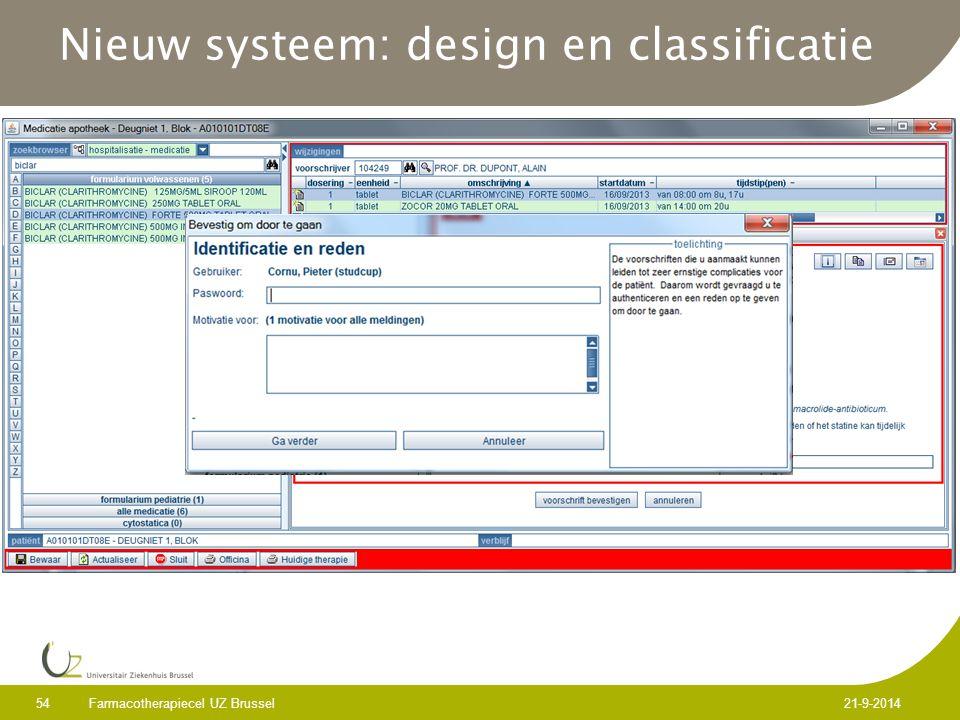 Nieuw systeem: design en classificatie Farmacotherapiecel UZ Brussel 54 21-9-2014
