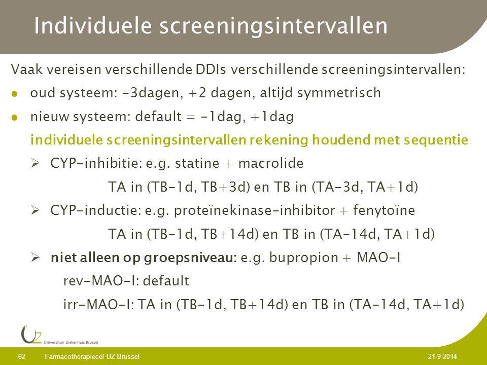 Individuele screeningsintervallen Vaak vereisen verschillende DDIs verschillende screeningsintervallen: oud systeem: -3dagen, +2 dagen, altijd symmetrisch nieuw systeem: default = -1dag, +1dag individuele screeningsintervallen rekening houdend met sequentie  CYP-inhibitie: e.g.