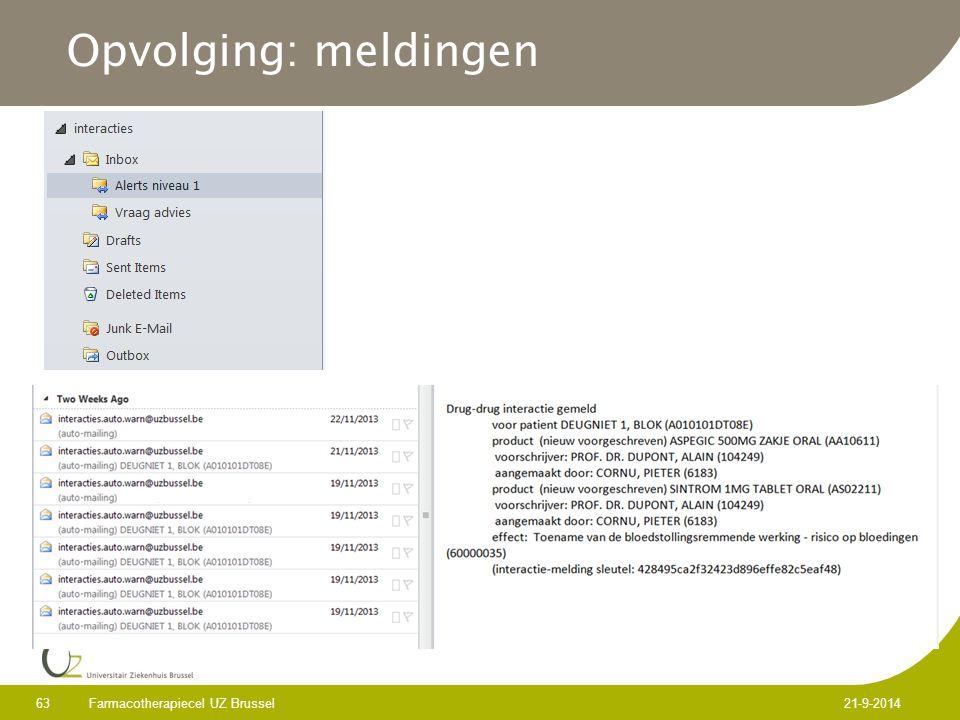 Opvolging: meldingen Farmacotherapiecel UZ Brussel 63 21-9-2014