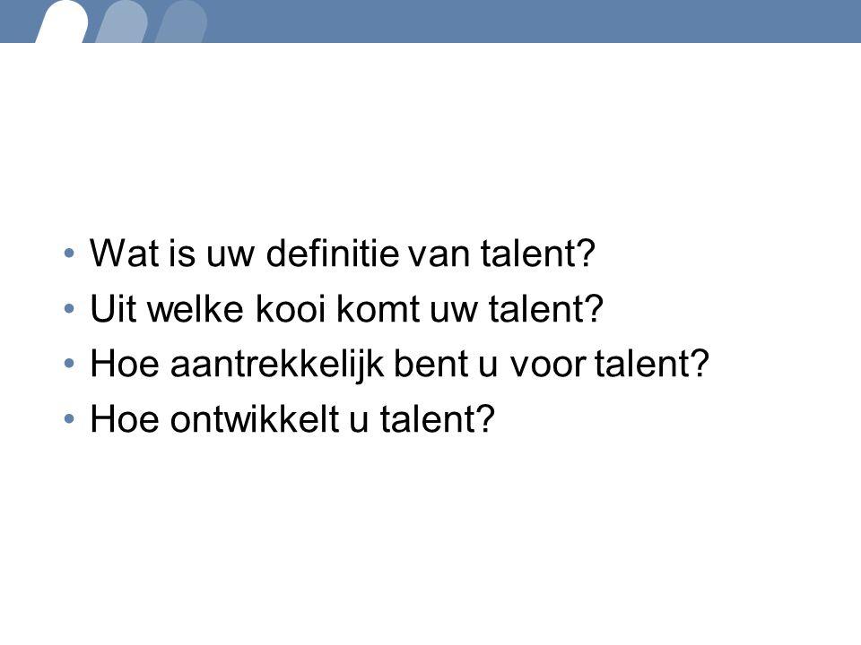 Wat is uw definitie van talent? Uit welke kooi komt uw talent? Hoe aantrekkelijk bent u voor talent? Hoe ontwikkelt u talent?