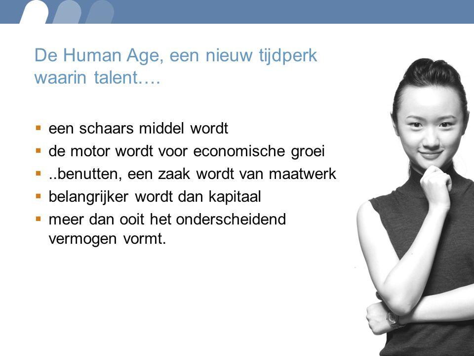 De Human Age, een nieuw tijdperk waarin talent….  een schaars middel wordt  de motor wordt voor economische groei ..benutten, een zaak wordt van ma