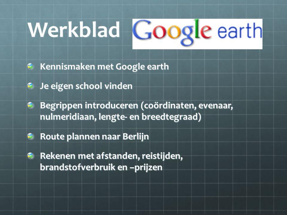Werkblad Kennismaken met Google earth Je eigen school vinden Begrippen introduceren (coördinaten, evenaar, nulmeridiaan, lengte- en breedtegraad) Rout