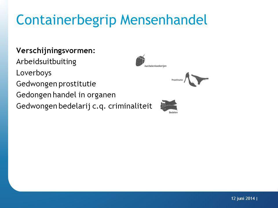 Containerbegrip Mensenhandel Verschijningsvormen: Arbeidsuitbuiting Loverboys Gedwongen prostitutie Gedongen handel in organen Gedwongen bedelarij c.q