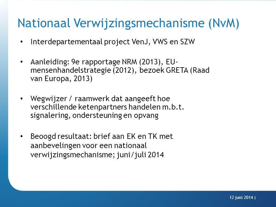Nationaal Verwijzingsmechanisme (NvM) Interdepartementaal project VenJ, VWS en SZW Aanleiding: 9e rapportage NRM (2013), EU- mensenhandelstrategie (20