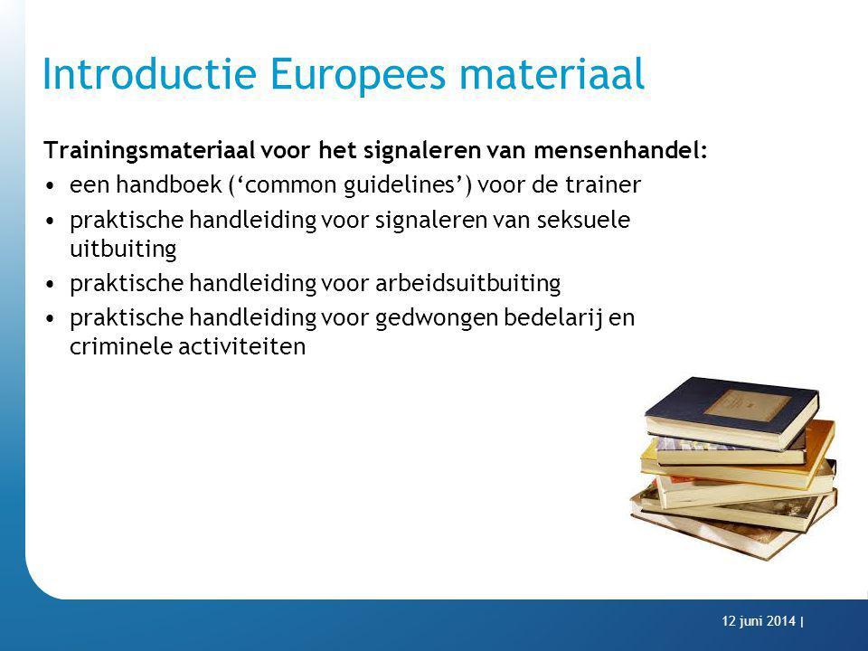 Introductie Europees materiaal Trainingsmateriaal voor het signaleren van mensenhandel: een handboek ('common guidelines') voor de trainer praktische