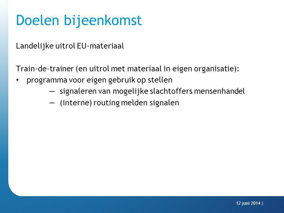 Doelen bijeenkomst Landelijke uitrol EU-materiaal Train-de-trainer (en uitrol met materiaal in eigen organisatie): programma voor eigen gebruik op ste