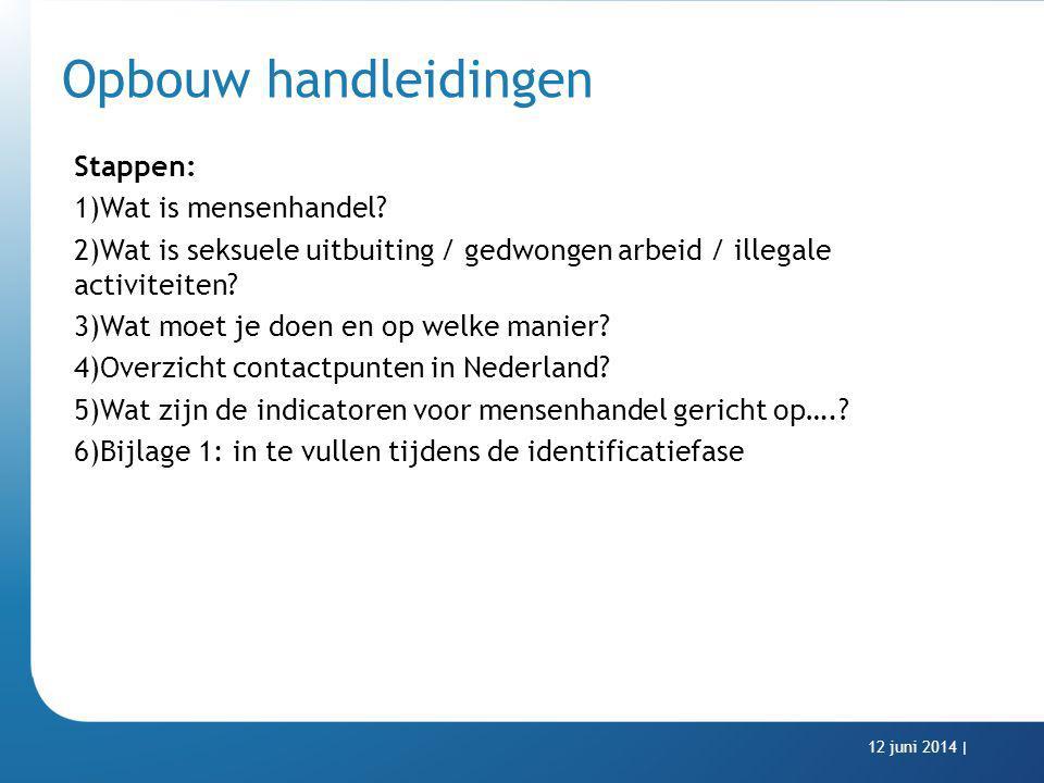 Opbouw handleidingen Stappen: 1)Wat is mensenhandel? 2)Wat is seksuele uitbuiting / gedwongen arbeid / illegale activiteiten? 3)Wat moet je doen en op