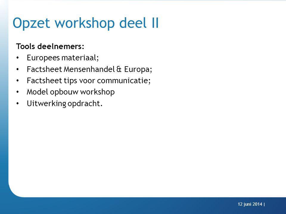 Opzet workshop deel II Tools deelnemers: Europees materiaal; Factsheet Mensenhandel & Europa; Factsheet tips voor communicatie; Model opbouw workshop