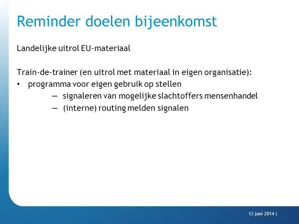 Reminder doelen bijeenkomst Landelijke uitrol EU-materiaal Train-de-trainer (en uitrol met materiaal in eigen organisatie): programma voor eigen gebru