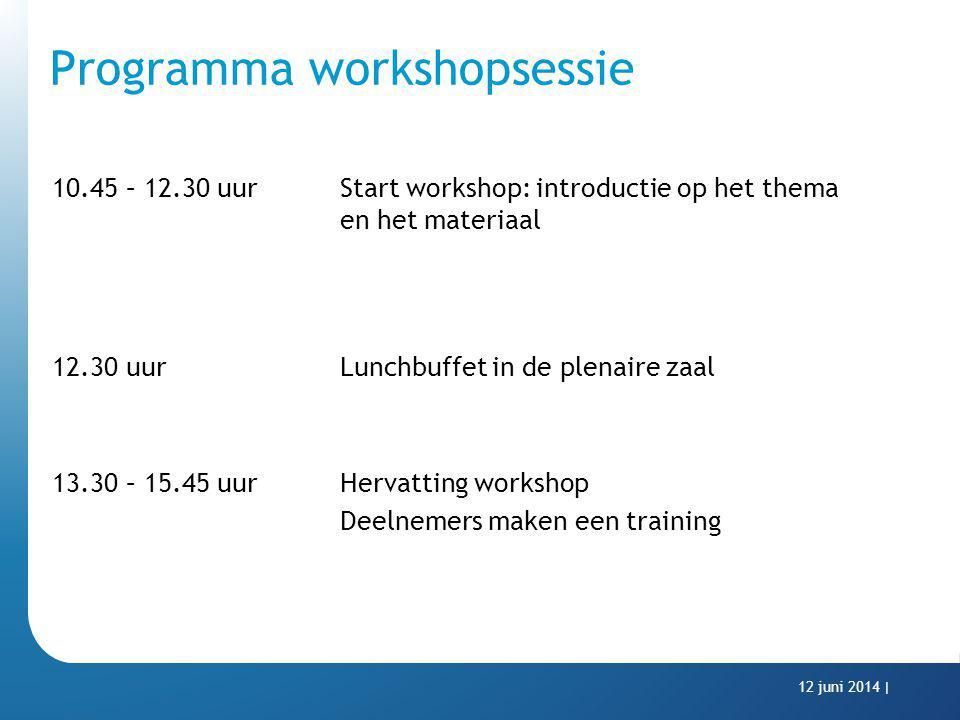 Programma workshopsessie 10.45 – 12.30 uur Start workshop: introductie op het thema en het materiaal 12.30 uurLunchbuffet in de plenaire zaal 13.30 –