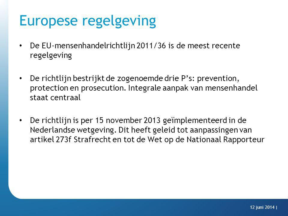 Europese regelgeving De EU-mensenhandelrichtlijn 2011/36 is de meest recente regelgeving De richtlijn bestrijkt de zogenoemde drie P's: prevention, pr