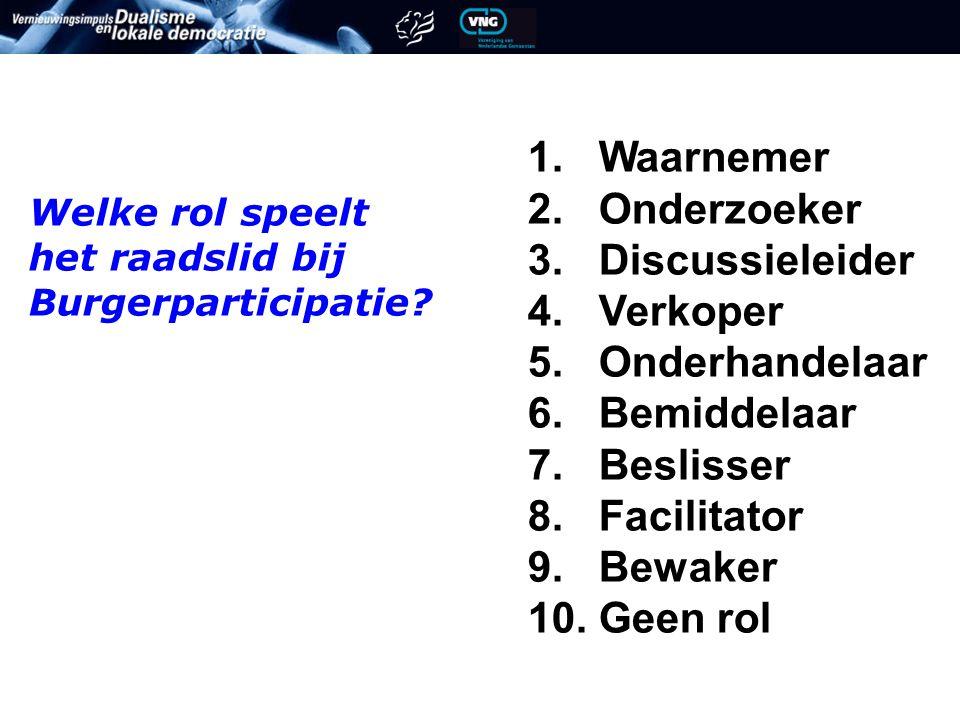 1.Waarnemer 2. Onderzoeker 3. Discussieleider 4. Verkoper 5.